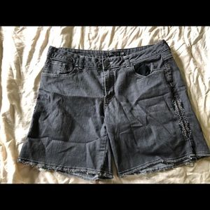 Size 14 prana denim shorts with embroidery